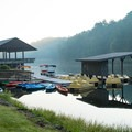 Boats and paddleboards are available for rental on the lake.- Vogel State Park