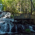 A platform makes it easy and safe to see the falls.- Vogel State Park