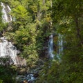 It is hard to see the full falls through the trees, but the scale is clear.- Anna Ruby Falls