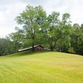 Grassy field behind the visitor center.- Unicoi State Park Campground