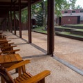 Chairs on the back patio of the lodge.- Unicoi State Park + Lodge