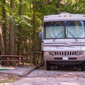 RV camping at Unicoi State Park Campground.- Unicoi State Park + Lodge