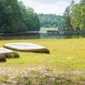 Canoes by the lake.- Unicoi State Park + Lodge