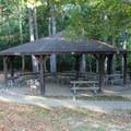 Picnic shelter.- Shenandoah State Park EW Campground
