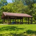 Picnic pavilion near Mooner's Hollow Trailhead.- St. Francois State Park Campgrounds