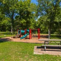 Playground near Mooner's Hollow Trailhead.- St. Francois State Park Campgrounds