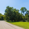 Road heading toward the swimming area.- St. Francois State Park Campgrounds