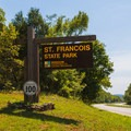 Main sign on the road for the park.- St. Francois State Park Campgrounds