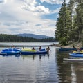 Holland Lake is a great place for campers with boats.- Holland Lake Campground