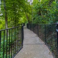 Walkway at the top of the cascade.- Hot Springs National Park