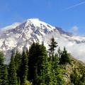 The summit of Eagle Peak with Mount Rainier beyond.- Eagle Peak