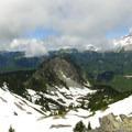 Chutla Peak with Eagle Peak behind and Mount Rainier to the right.- Eagle Peak