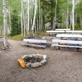 A small amphitheater provides an area for talks and programs.- Wheeler Campground
