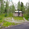 Pit toilets are the only bathroom options at the campground.- Wheeler Campground