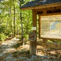 A trailhead in Keowee Toxaway State Park.- Keowee Toxaway State Park