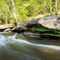 An area to slide down the rocks.- Long Shoals Roadside Park