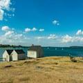 Old fishing huts on Fisherman's Point.- Willard Beach