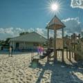 Playground structure on the beach.- Willard Beach