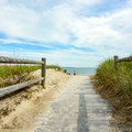 The entry boardwalk to the beach.- Pine Point Beach