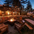 Fire pits are lit for guests nightly, and they make the beer garden a great place to listen to live music.- Basecamp Tahoe South