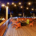 A rooftop patio option with a fire pit.- Basecamp Tahoe South