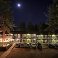The Lake Tahoe night settles over Basecamp Tahoe South.- Basecamp Tahoe South