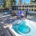 This rooftop hot tub is one of two hot tubs for guests in the hotel.- Basecamp Tahoe South