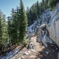 Snow is not an uncommon sight when hiking during the transitional seasons.- Maggie's Peak