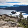 The paddle begins with views across Emerald Bay from a viewpoint at the parking area.- Emerald Bay Paddle