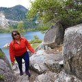Climbing the short trail to the tea house atop Fannette Island.- Emerald Bay Paddle