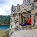 The tea house offers a unique panoramic view from the center of Emerald Bay.- Emerald Bay Paddle