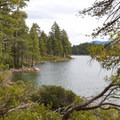 Views of Emerald Bay's shoreline beyond the trees.- Emerald Point