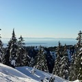 Views open to the north as you approach Brockton Point.- Mount Seymour Snowshoe