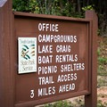 Signage helps direct traffic to the campground and other areas.- Croft State Park Campground
