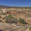 There are some handrails, but there are many unprotected drops as well.- Horsecollar Ruins Overlook