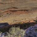 Looking down into the canyon toward the ruins.- Horsecollar Ruins Overlook