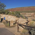 Trailhead and information sign for Horsecollar Ruins Overlook.- Horsecollar Ruins Overlook