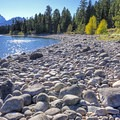 Large stone shore on Lake Jackson.- Hermitage Point Backcountry Group Site