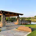 Simplot Park covered picnic area.- Quinn's Pond and Simplot Ponds