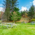 Picnic area near the parking area.- Great Glen Trails Outdoor Center