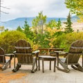 Sitting area outside the Great Angel Cabin.- Great Glen Trails Outdoor Center