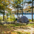 One of many scenic campsites on the water.- Pillsbury State Park