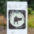 Santiam Wagon Road trail marker.- Santiam Wagon Road Trail: McKenzie River Trailhead