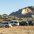 Camping is basic in the parking lot near White Pocket.- White Pocket