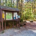 Trailhead kiosk with a map of the area.- Zealand Falls