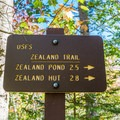 It's 2.7 miles to the falls and another 0.1 mile to the hut.- Zealand Falls