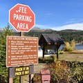 Parking fee information at the boat ramp.- Payette River Meanders