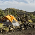 Tent camping in Craters of the Moon.- Lava Flow Campground