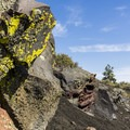 Bright lichen on the lava rocks.- Broken Top Loop Hike