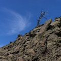 The landscape is stark and spare.- Broken Top Loop Hike